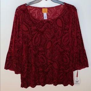 Ruby Rd Woman Red Blouse with Camisole Size 1X New